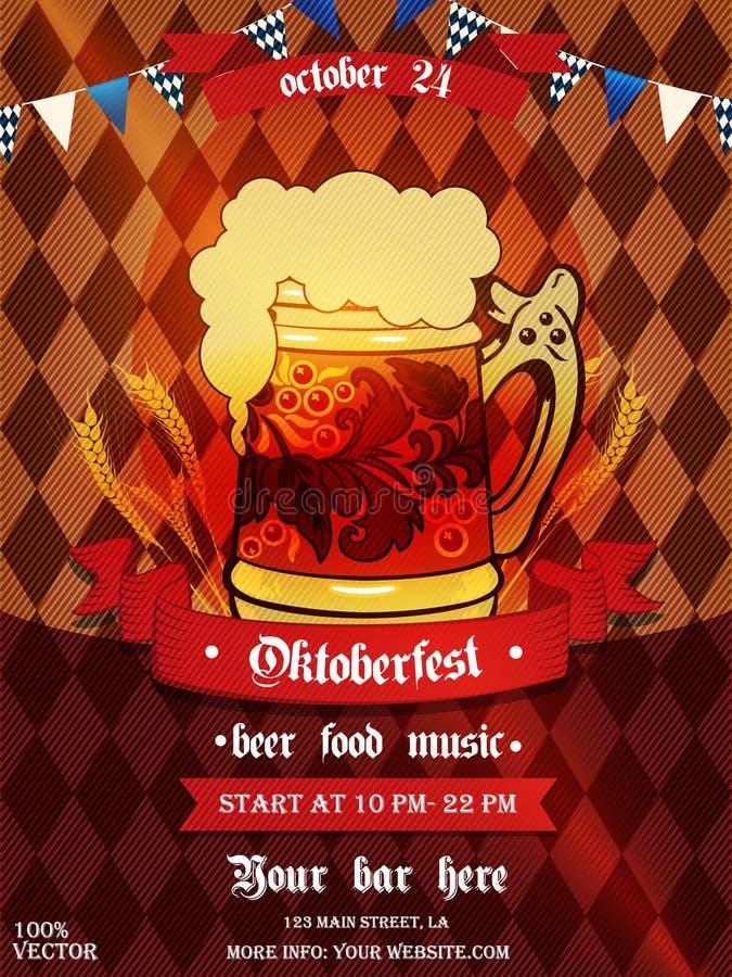 Festa dell'Oktoberfest per la festa della birra e per la celebrazione di un poster tipografico o di un flyer Eps 10 template con  illustrazione di stock