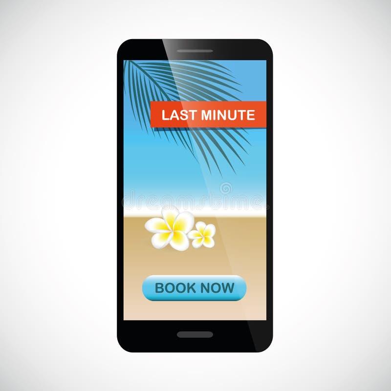 Festa dell'ultimo minuto online dallo smartphone con il bottone del libro illustrazione di stock