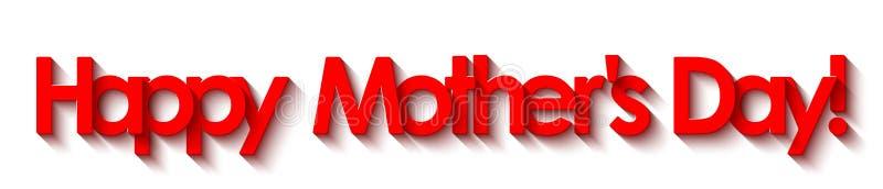 Festa della Mamma felice! Iscrizione rossa isolata su fondo bianco illustrazione di stock