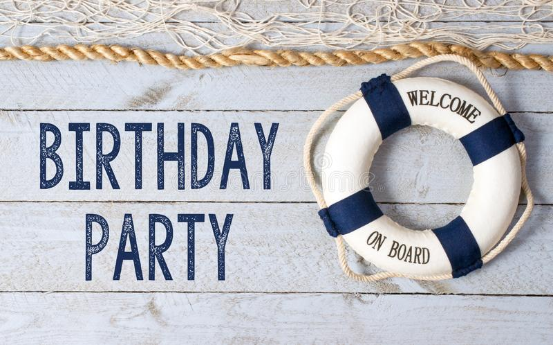 Festa di compleanno - benvenuto a bordo immagine stock