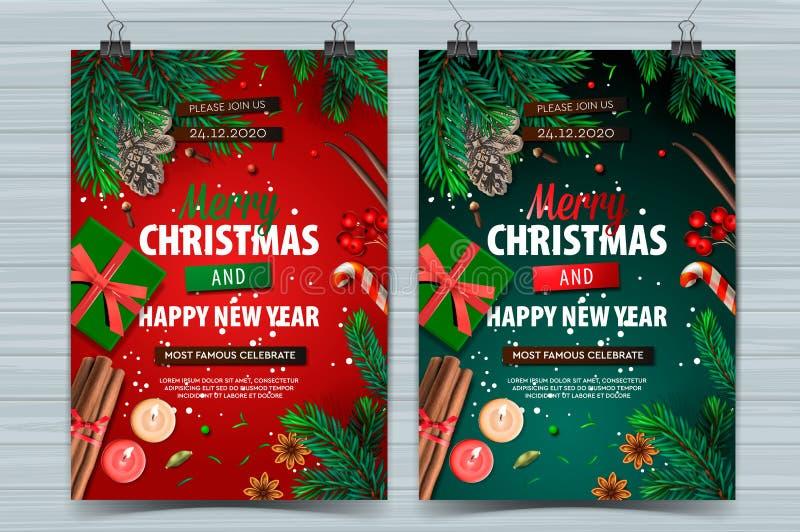 Festa di Natale e modelli di design Happy New Year, poster di vacanze con decorazioni natalizie, illustrazione vettoriale immagine stock