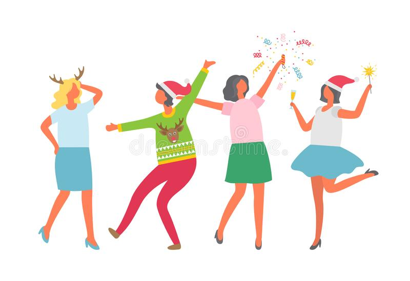 Festa di Natale, gente felice che balla, divertendosi illustrazione di stock