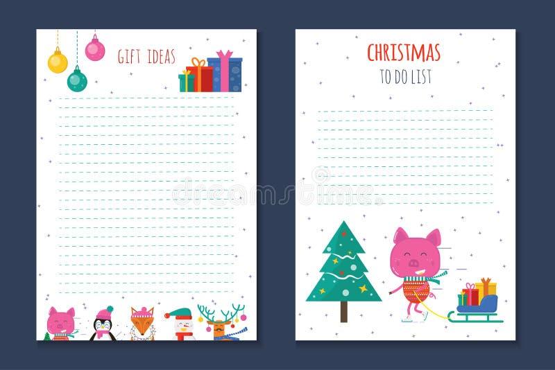 Festa di Natale per fare le liste, pianificatore, note sveglie con l'inverno v illustrazione di stock