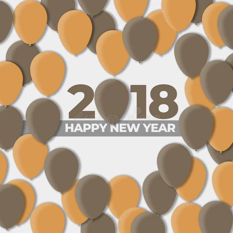 Festa di progettazione del pallone dei buoni anni 2018 - 2017 illustrazione vettoriale