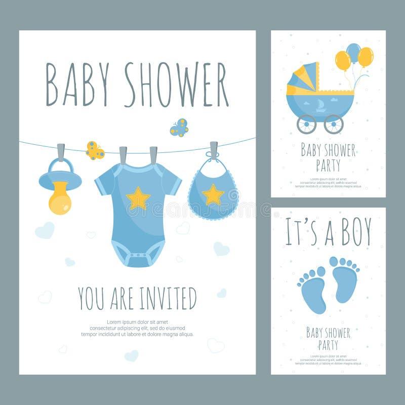 Festa do bebê para a mãe futura do convite do rapaz pequeno no estilo liso ilustração do vetor