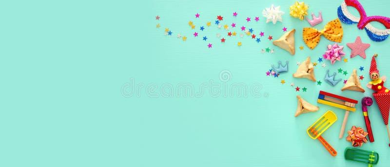Festa ebrea di carnevale di concetto di celebrazione di Purim Vista superiore fotografia stock libera da diritti