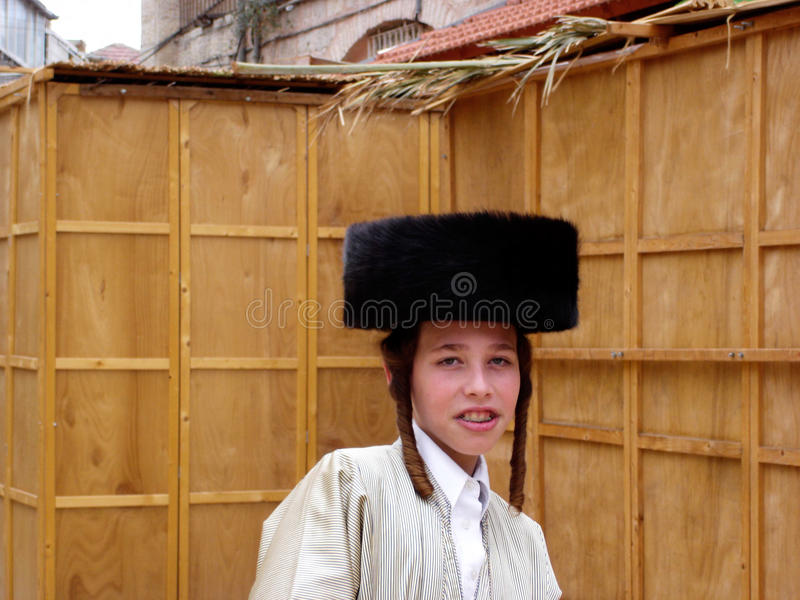 Festa ebrea di sukkot nel Mea Shearim Gerusalemme Israele. immagini stock libere da diritti