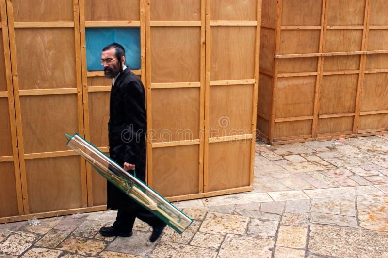 Festa ebrea di sukkot nel Mea Shearim Gerusalemme Israele. fotografia stock libera da diritti