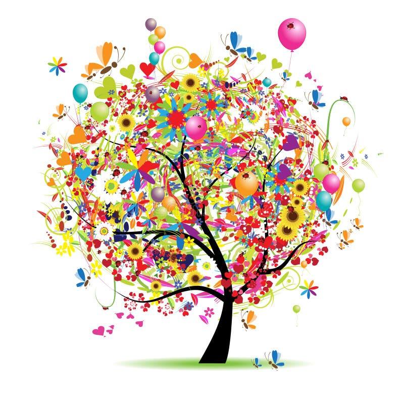 Festa felice, albero divertente con i baloons royalty illustrazione gratis