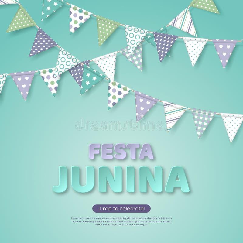 Festa Junina假日设计 纸削减了与旗布旗子的样式信件在轻的绿松石背景 模板为 向量例证