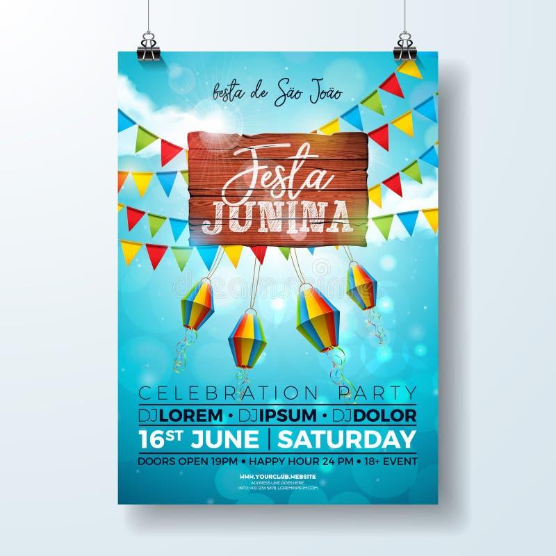 Festa Junina党与印刷术设计的飞行物例证在葡萄酒木头板 旗子和纸灯在蓝天 向量例证