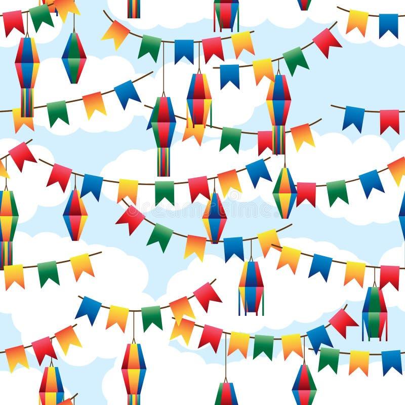 Festa Junina旗子灯笼五颜六色的无缝的样式 向量例证
