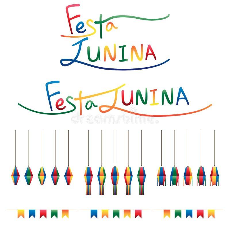 Festa Junina旗子灯笼吊集合 皇族释放例证