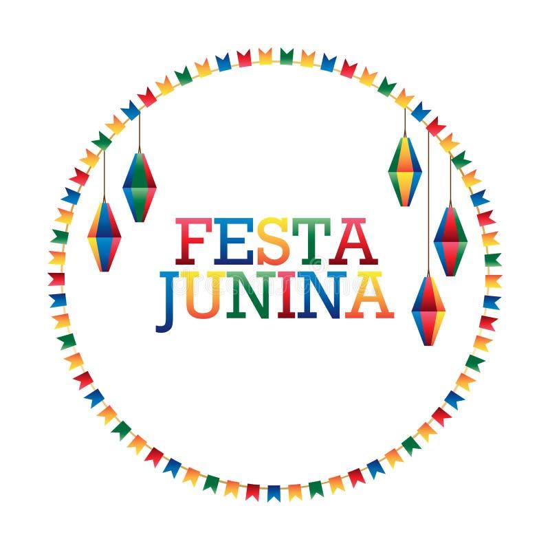 Festa Junina旗子灯笼圈子框架 向量例证