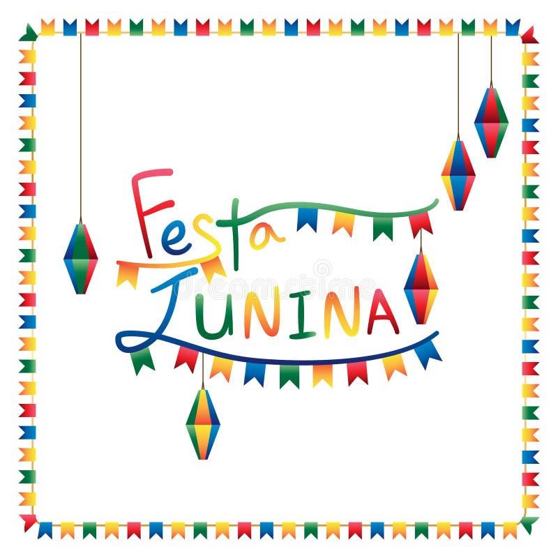 Festa Junina旗子灯笼正方形框架 皇族释放例证