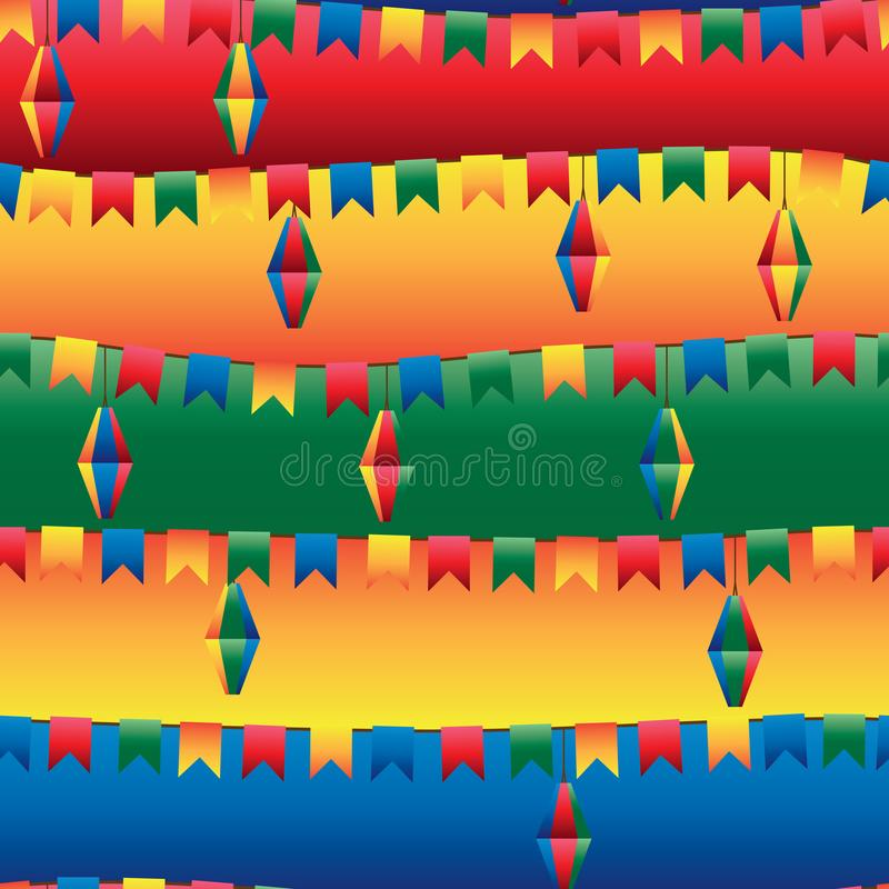 Festa Junina旗子灯笼水平的无缝的样式 库存例证