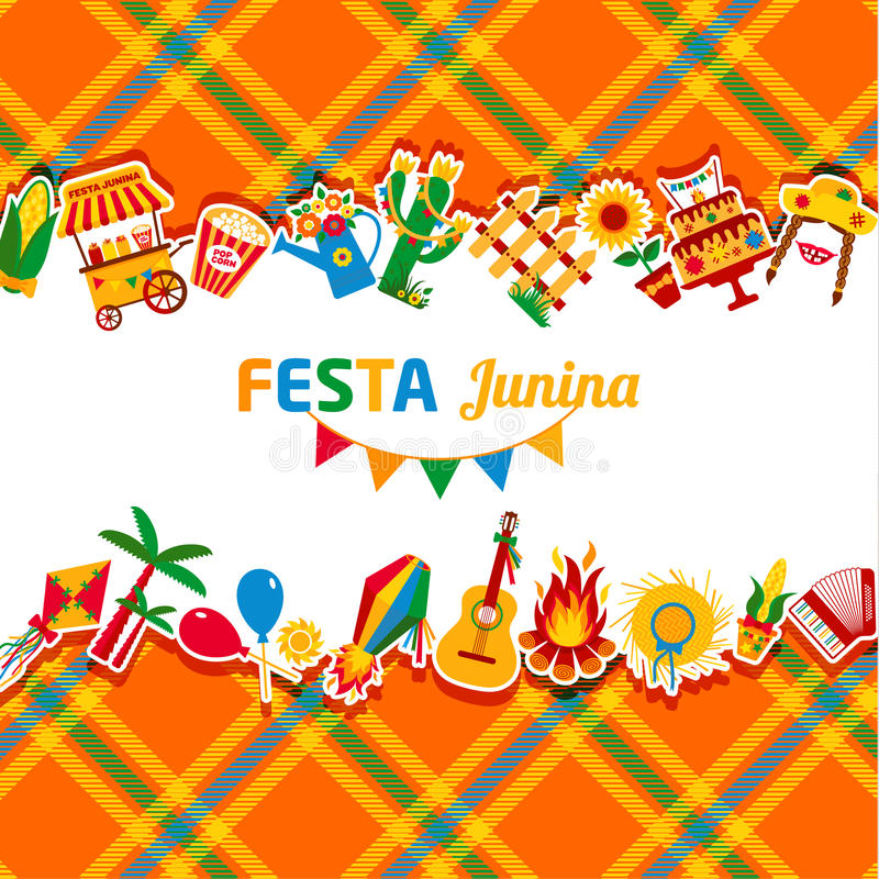 Festa Junina村庄节日在拉美 在bri设置的象 皇族释放例证