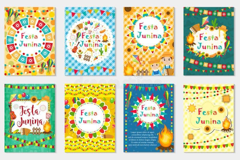 Festa Junina集合贺卡,邀请,海报 您的设计的巴西人拉丁美洲的节日模板 向量 皇族释放例证