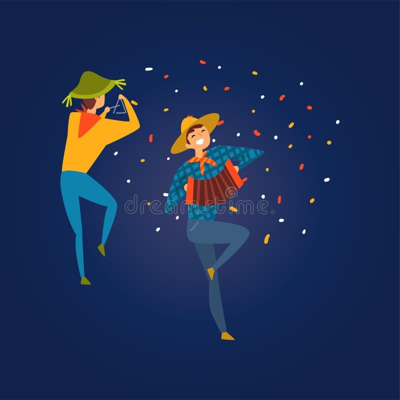 Festa Junina, παραδοσιακό φεστιβάλ της Βραζιλίας Ιούνιος, άτομα που χορεύει και που παίζει το ακκορντέον και το τρίγωνο στο διάνυ διανυσματική απεικόνιση