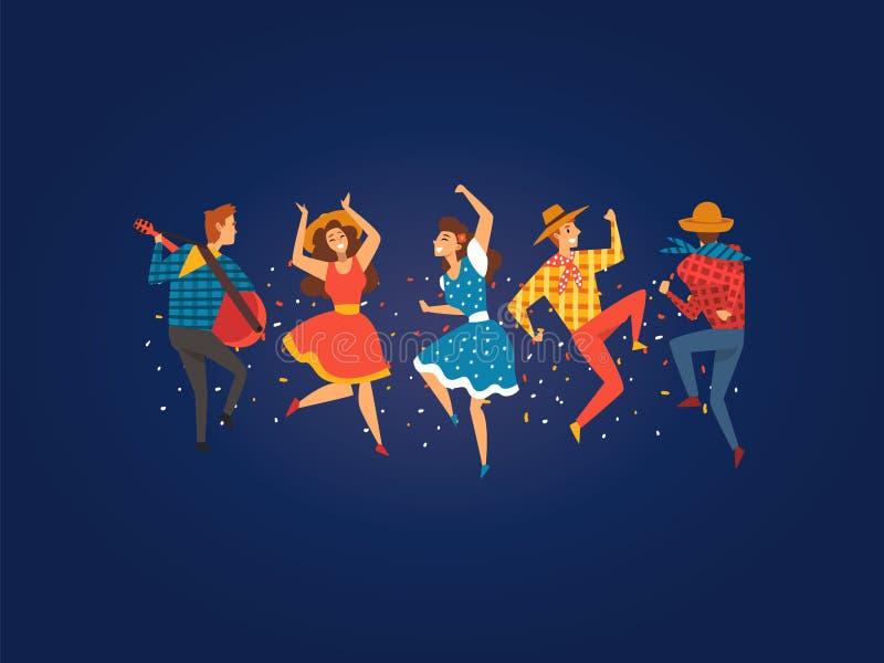 Festa Junina, παραδοσιακό φεστιβάλ της Βραζιλίας Ιούνιος, ευτυχής διανυσματική απεικόνιση κόμματος λαογραφίας ανθρώπων που χορεύο απεικόνιση αποθεμάτων