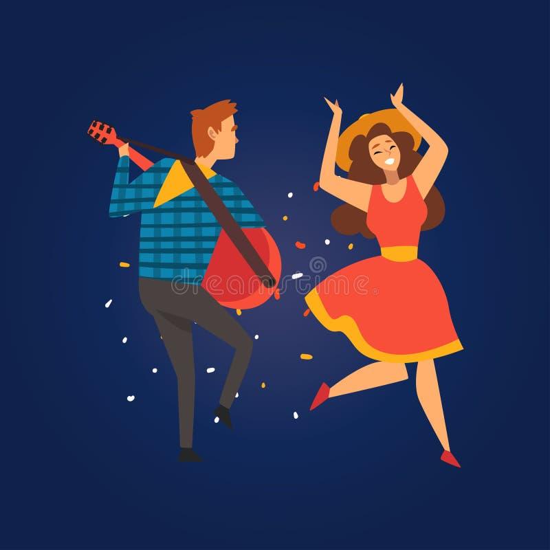 Festa Junina, παραδοσιακό φεστιβάλ της Βραζιλίας Ιούνιος, ευτυχείς άνθρωποι που χορεύει στο κόμμα λαογραφίας, παίζοντας διάνυσμα  απεικόνιση αποθεμάτων
