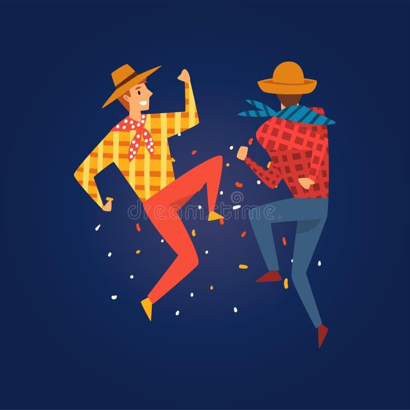 Festa Junina, παραδοσιακό φεστιβάλ της Βραζιλίας Ιούνιος, διανυσματική απεικόνιση κόμματος λαογραφίας νεαρών άνδρων χορεύοντας τη διανυσματική απεικόνιση