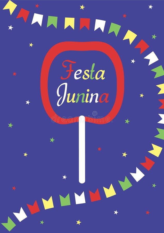 Festa Junina αφίσα Η επιγραφή στο μήλο στην καραμέλα, μια γιρλάντα των σημαιών και των αστεριών σε ένα σκούρο μπλε υπόβαθρο διανυσματική απεικόνιση