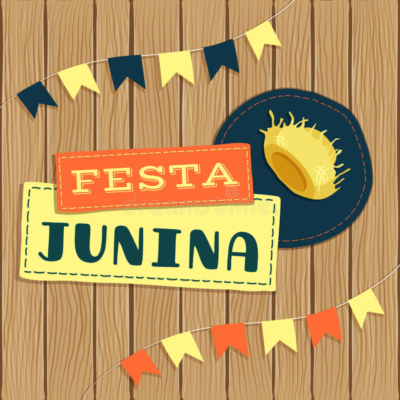 Festa Junina, βραζιλιάνο λογότυπο φεστιβάλ Ιουνίου με τα στοιχεία ελεύθερη απεικόνιση δικαιώματος