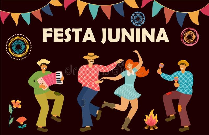 Festa Junina Λατινοαμερικάνικες διακοπές r Πρότυπο ιδέας για το έμβλημα, αφίσα, κάρτα, κάρτα και εκτυπώσιμος ελεύθερη απεικόνιση δικαιώματος