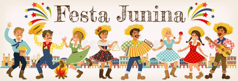 Festa Junina - φεστιβάλ της Βραζιλίας Ιούνιος Διακοπές λαογραφίας χαρακτήρες απεικόνιση αποθεμάτων