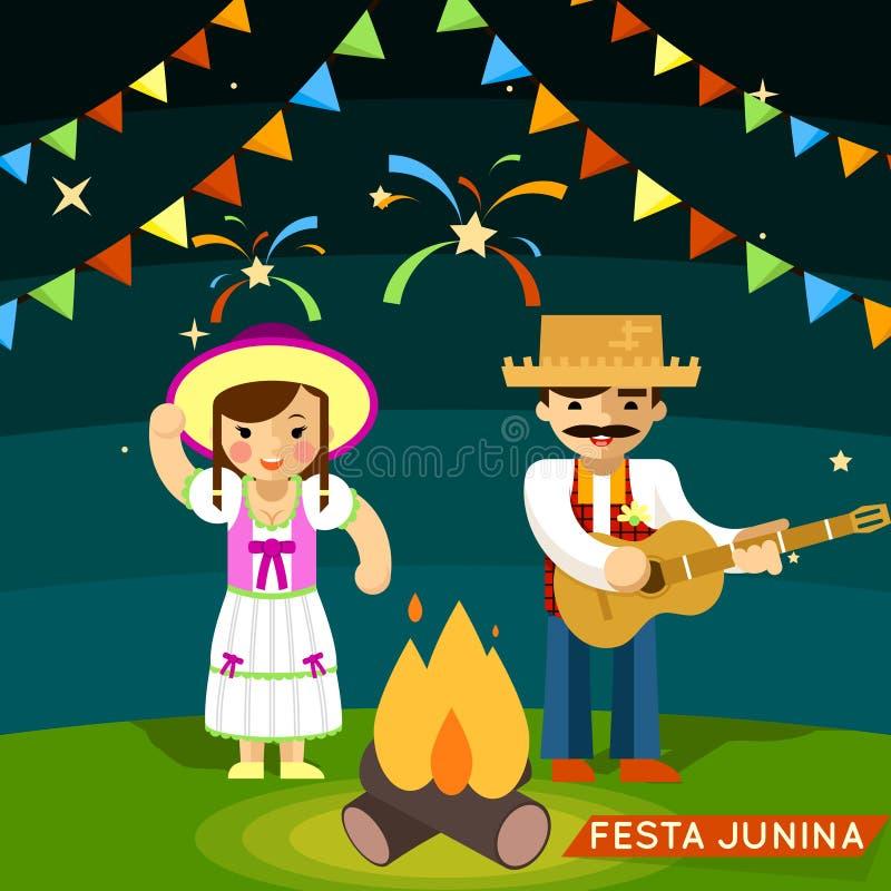 Festa Junina Φεστιβάλ του ST Johns Ιούνιος απεικόνιση αποθεμάτων
