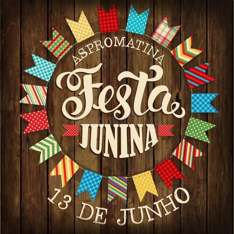 Festa Junina - фестиваль Бразилии июня Праздник фольклора плакат иллюстрация штока