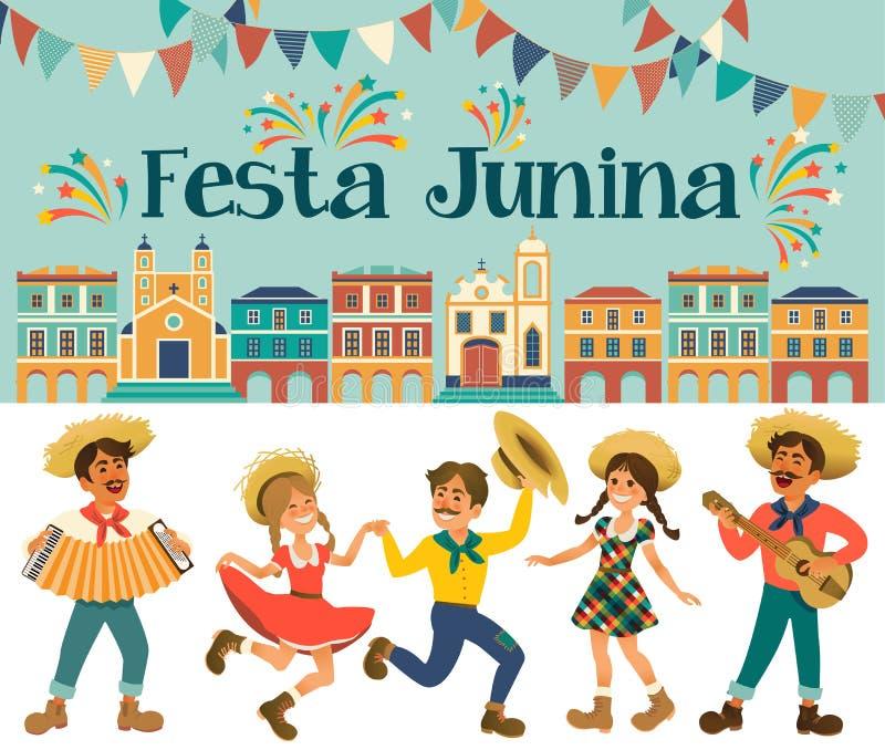 Festa Junina - фестиваль Бразилии июня Праздник фольклора характеры иллюстрация вектора
