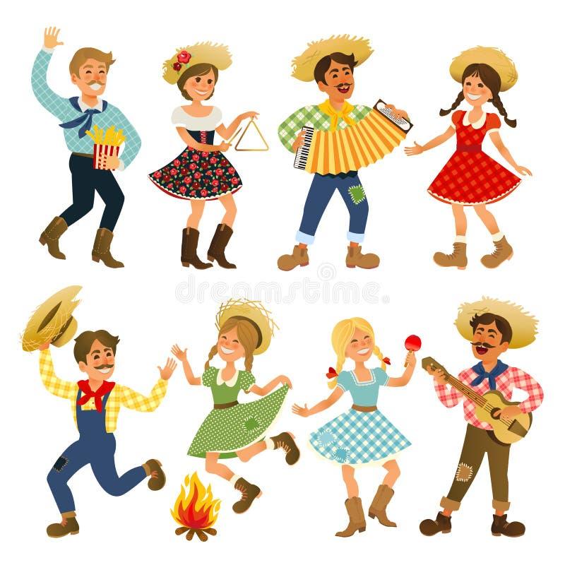 Festa Junina - фестиваль Бразилии июня Праздник фольклора характеры иллюстрация штока