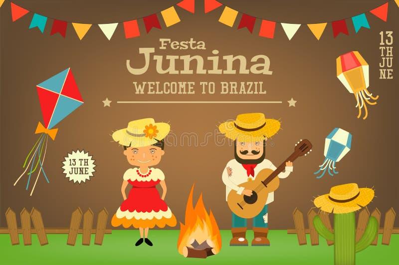 Festa Junina - фестиваль Бразилии иллюстрация штока