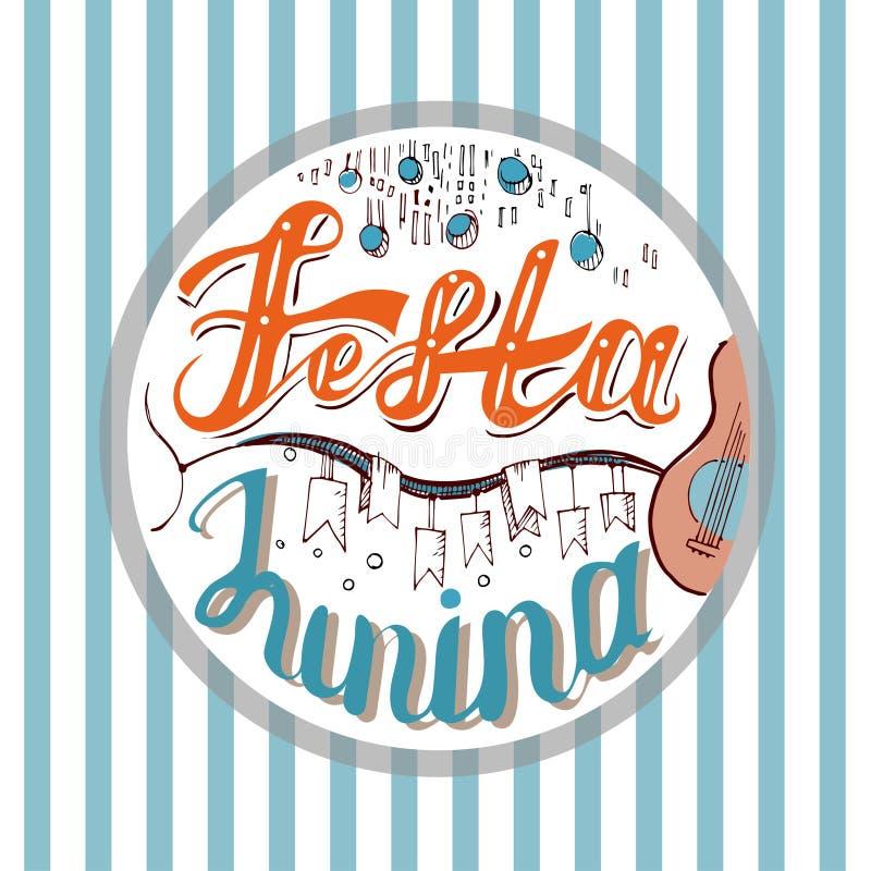 Festa Junina 假日巴西人6月费斯特的在条纹背景的de圣若昂卡片设计 字法例证 皇族释放例证