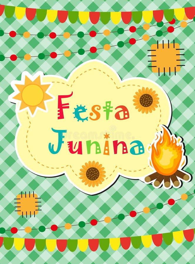Festa Junina贺卡,邀请,海报 您的设计的巴西人拉丁美洲的节日模板 向量 皇族释放例证