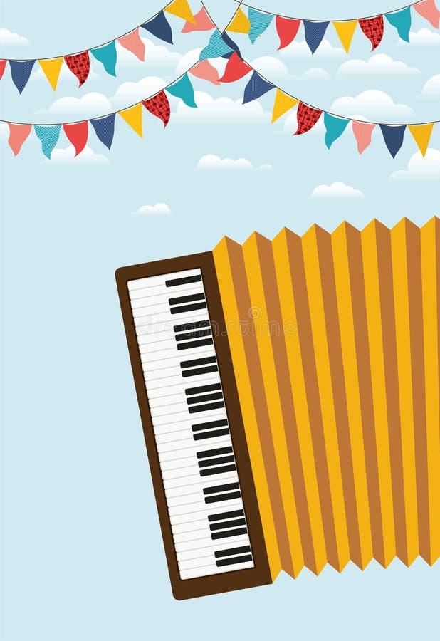 Festa junina with accordion and garlands. Vector illustration design stock illustration