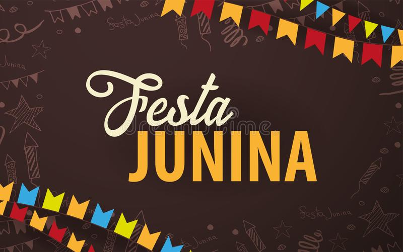 Festa Junina background with hand draw doodle elements and party flags. Brazil or Latin American holiday. Vector illustration. royalty free illustration