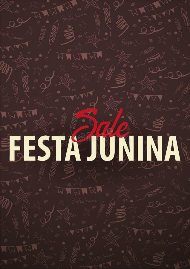 Festa Junina bakgrund med beståndsdelar för handattraktionklotter Brasilien eller latin - amerikansk ferie också vektor för corel stock illustrationer