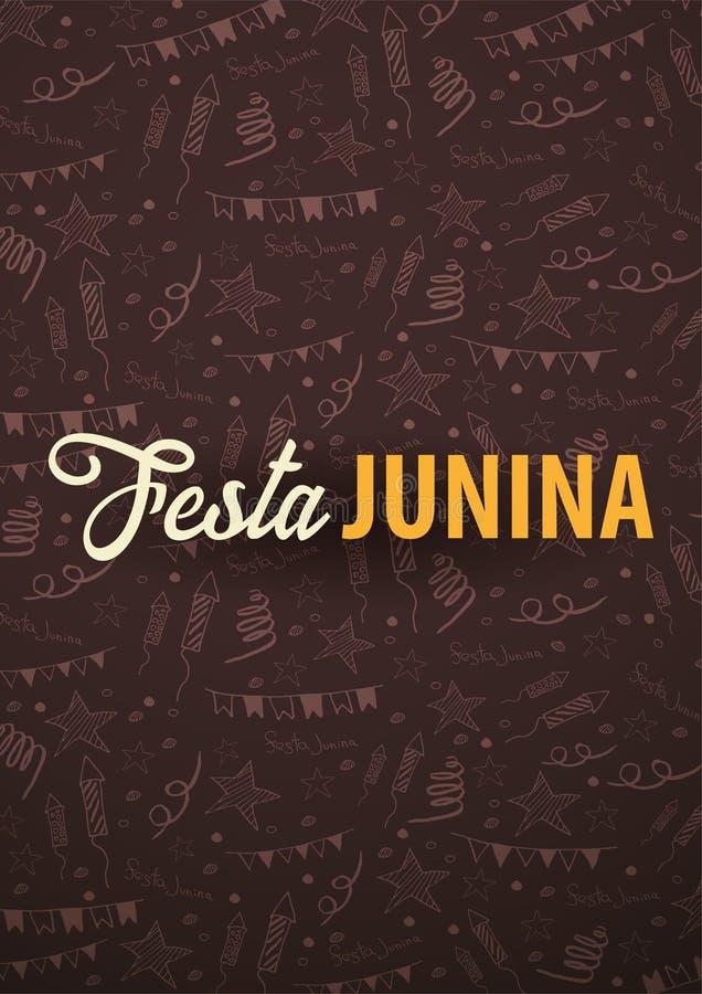Festa Junina bakgrund med beståndsdelar för handattraktionklotter Brasilien eller latin - amerikansk ferie också vektor för corel vektor illustrationer