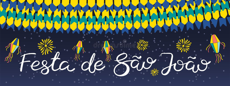 Festa Junina banner design. Festa Junina banner with lanterns, bunting, fireworks, Portuguese text Festa de Sao Joao, on dark background. Hand drawn vector royalty free illustration