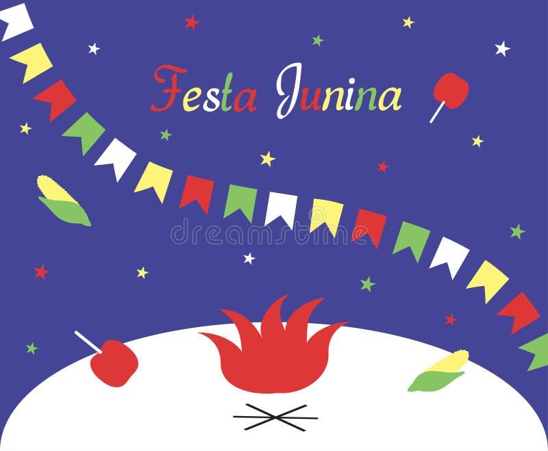 Festa Junina Brasilien Juni festival Affisch, hälsningkort eller inbjudan Inskriften, en girland av flaggor, stjärnor, äpplen i c stock illustrationer