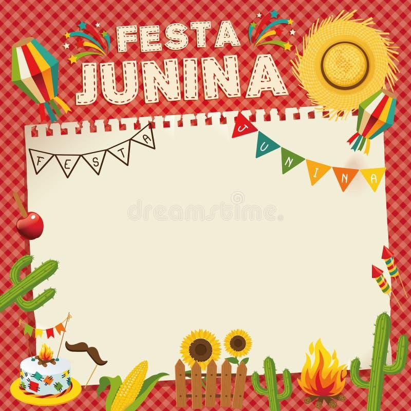 Festa Junina - Brazil June Festival. Retro Poster of Folklore Holiday. Cage Background. Vector Illustration stock illustration