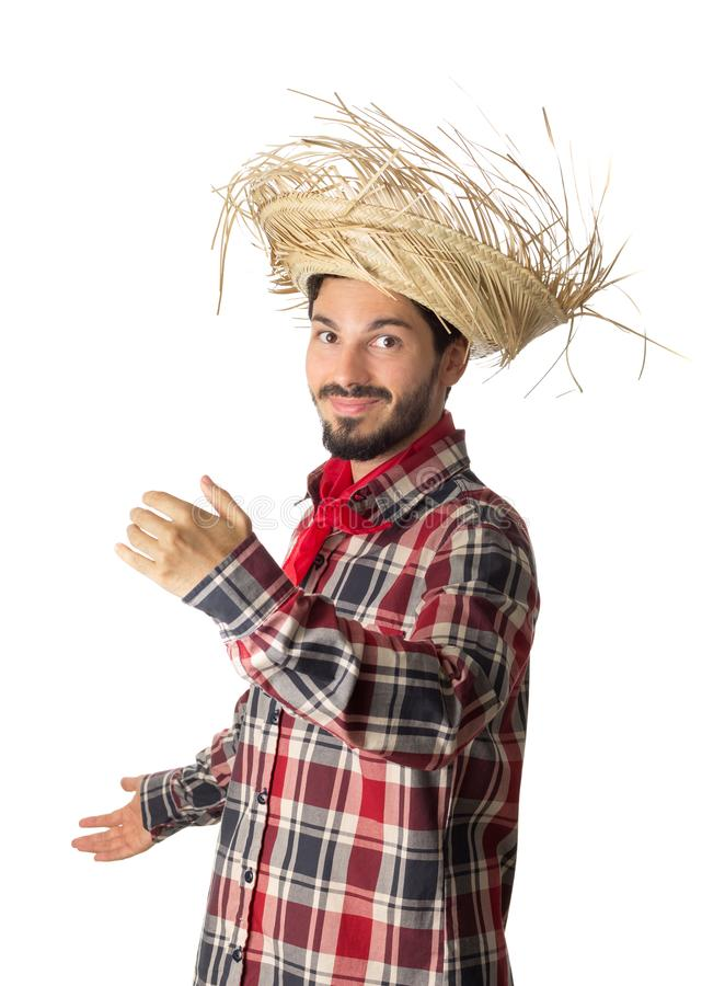 Festa Junina is a brazilian party. Man wearing plaid shirt and s stock photo