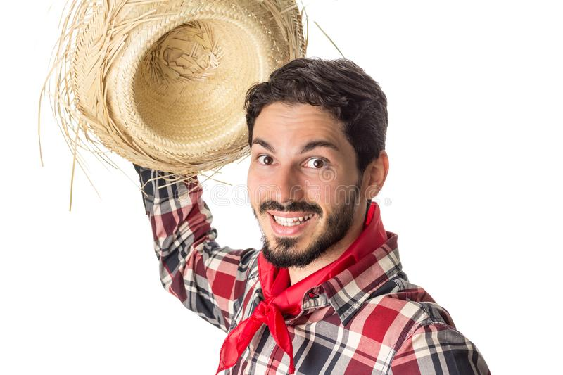 Festa Junina is a brazilian party. Man wearing plaid shirt and s stock photography