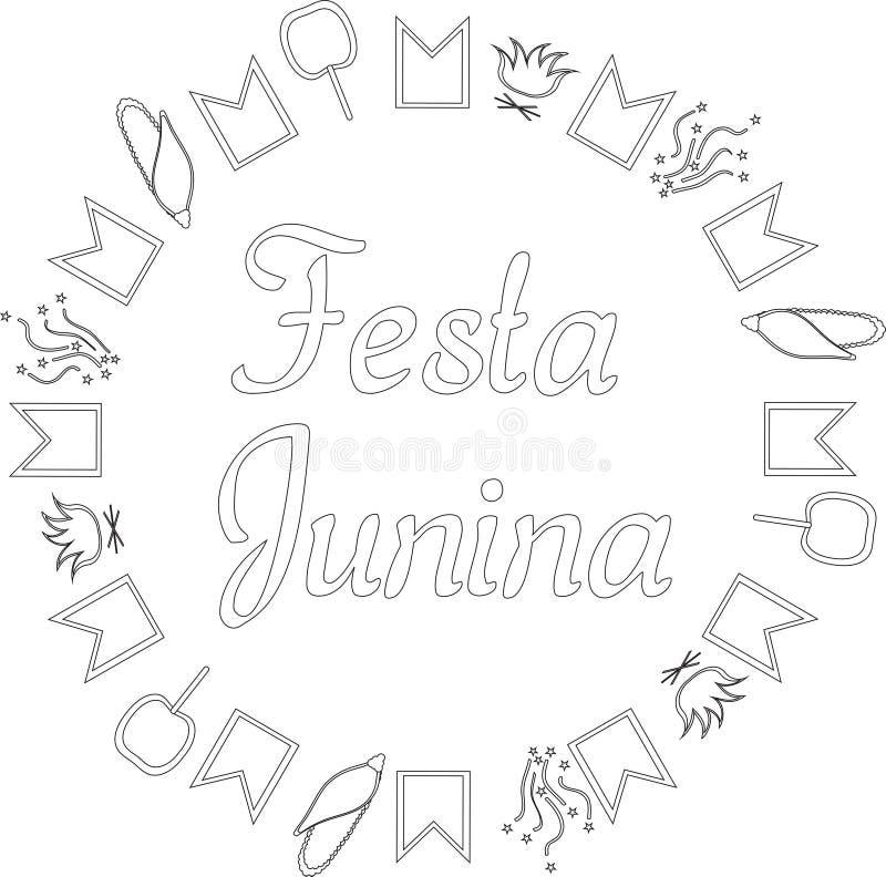 Festa Junina Brazylia Czerwiec festiwal Round czarny i bia?y sztandar Tekst otaczaj?cy flagami, confetti, kukurudz?, karmel jab?k royalty ilustracja