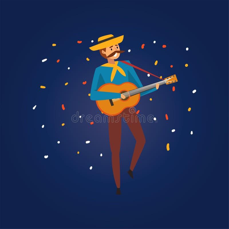 Festa Junina Brazylia Czerwiec Tradycyjny festiwal, młody człowiek w kowbojskim kapeluszu Bawić się gitarę przy noc folkloru przy royalty ilustracja