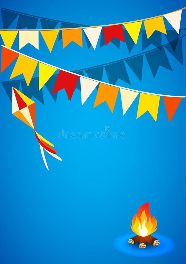 Festa Junina Brazylia tematu festiwal Folkloru wakacje Ja jest wektorowym ilustracją ilustracja wektor