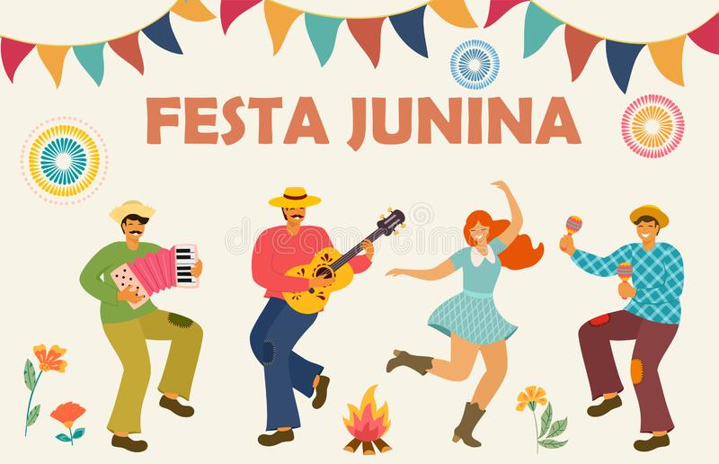 Festa Junina Festa dell'America latina Illustrazione di vettore Modello di idea per l'insegna, il manifesto, la carta, la cartoli illustrazione vettoriale